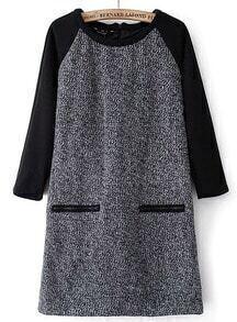 Grey Contrast Long Sleeve Pockets Tweed Dress