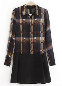 Black Lapel Long Sleeve Plaid Chiffon Dress