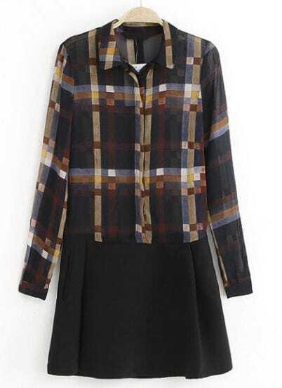 Black Lapel Long Sleeve Plaid Chiffon Dress