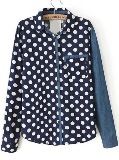 Navy Lapel Long Sleeve Polka Dot Pocket Blouse