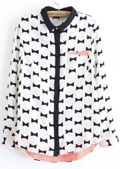 White Long Sleeve Bow Print Chiffon Blouse