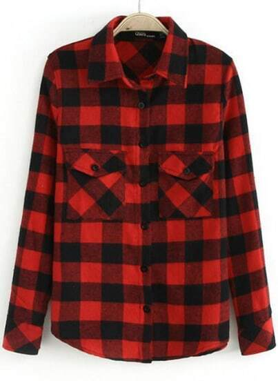 Red Lapel Long Sleeve Plaid Pockets Blouse