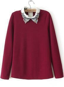 Red Long Sleeve Embroidered Bead Blouse