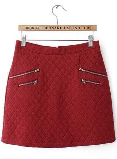 Wine Red Diamond Patterned Zipper Embellished Skirt