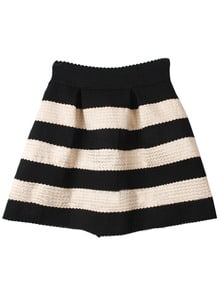 Black Apricot Striped High Waist Elastic Flare Skirt