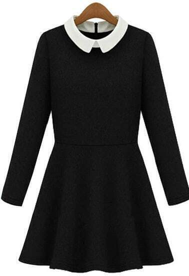 Black Contrast Collar Long Sleeve Pleated Dress