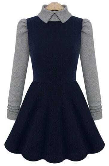 Navy Contrast Long Sleeve Pleated Dress