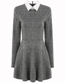 Grey Contrast Collar Long Sleeve Pleated Dress