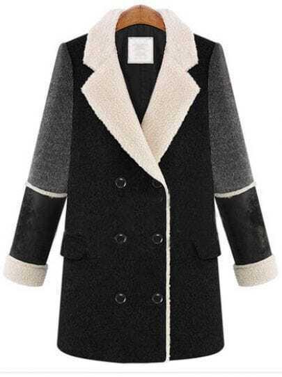 Black Lapel Long Sleeve Buttons Tweed Coat