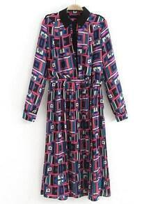 Purple Long Sleeve Geometric Print Chiffon Dress