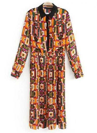Yellow Long Sleeve Geometric Print Chiffon Dress