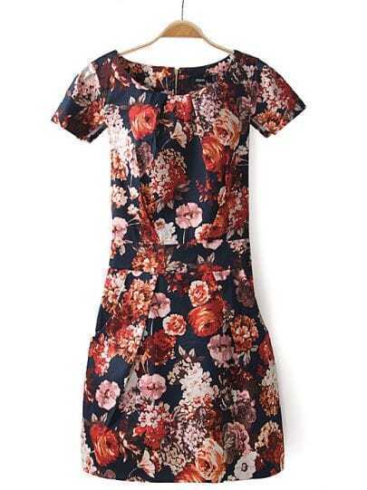 Navy Short Sleeve Floral Belt Pockets Dress