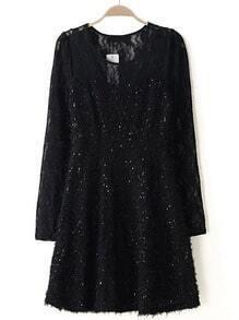Black Long Sleeve Slim Lace Pleated Dress