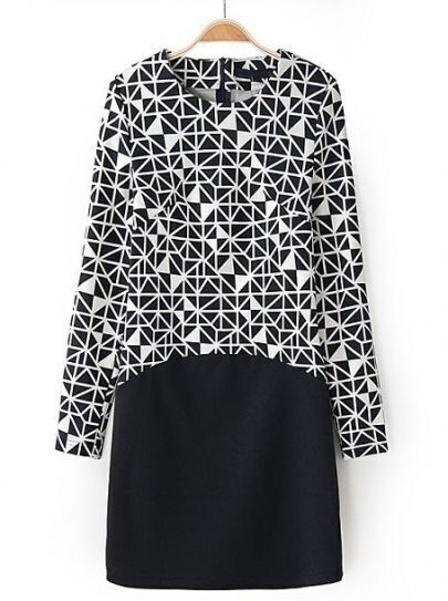 Black Long Sleeve Geometric Print Slim Dress