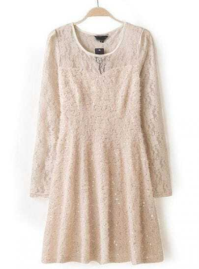 Beige Long Sleeve Slim Lace Pleated Dress