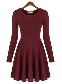 Red Round Neck Long Sleeve Slim Pleated Dress