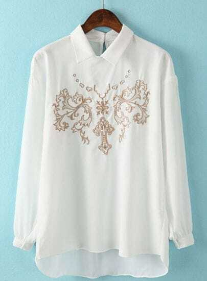 White Lapel Long Sleeve Embroidered Dipped Hem Blouse