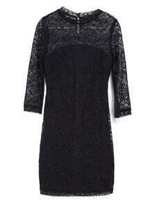 Black Half Sleeve Slim Bodycon Lace Dress