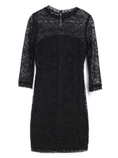 Black Half Sleeve Slim Bodycon Lace Dress