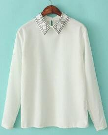 White Lapel Long Sleeve Embroidered Blouse