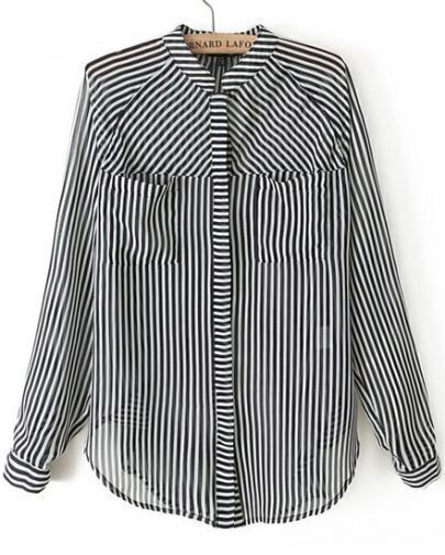 Black White Vertical Stripe Long Sleeve Pockets Blouse