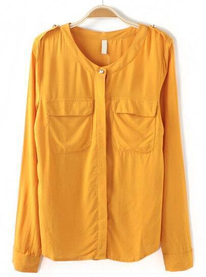 Yellow Long Sleeve Epaulet Pockets Blouse