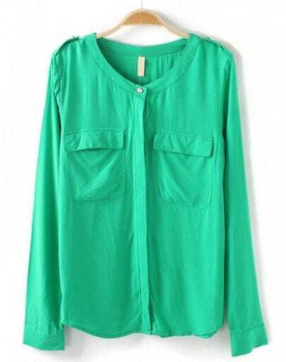 Green Long Sleeve Epaulet Pockets Blouse