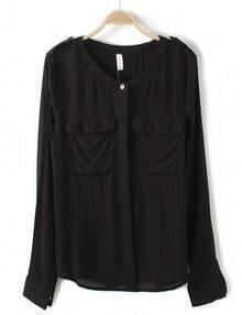 Black Long Sleeve Epaulet Pockets Blouse