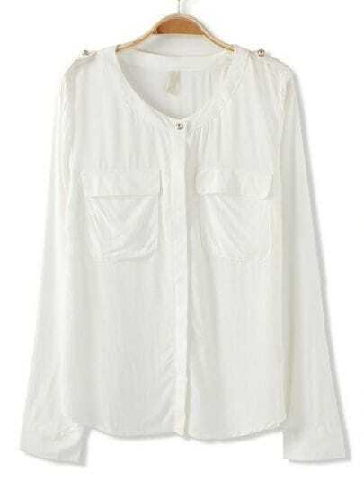 White Long Sleeve Epaulet Pockets Blouse