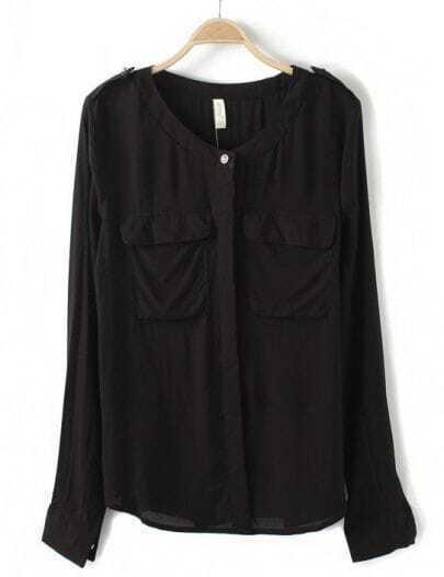 Black Long Sleeve Epaulet Pockets Blouse