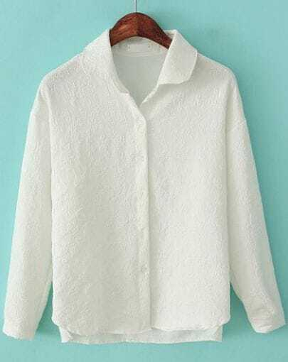 White Lapel Long Sleeve Lace Embroidered Blouse