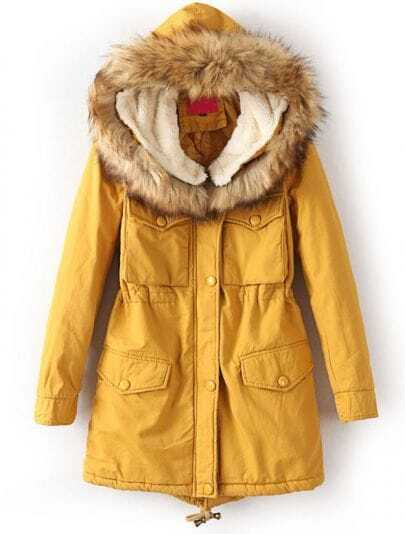 Yellow Faux Fur Hooded Long Sleeve Pockets Coat