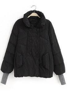 Black Stand Collar Double Breasted Parka