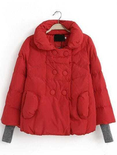 Red Stand Collar Double Breasted Parka