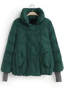 Green Stand Collar Double Breasted Parka