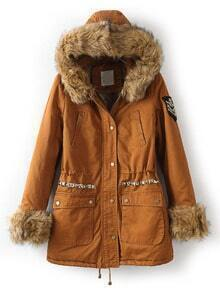 Coffee Faux Fur Hooded Long Sleeve Rivet Coat