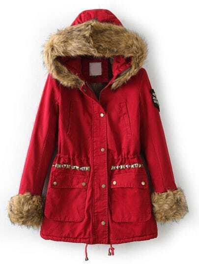 Red Faux Fur Hooded Long Sleeve Rivet Coat
