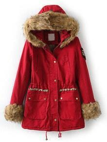 Red Faux Fur Hooded Long Sleeve Rivet Coat