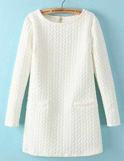 White Long Sleeve Cable Pattern Pockets Sweatshirt