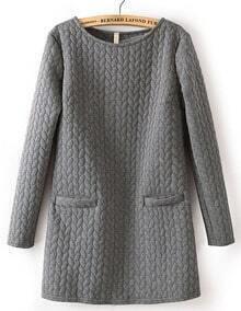 Grey Long Sleeve Cable Pattern Pockets Sweatshirt