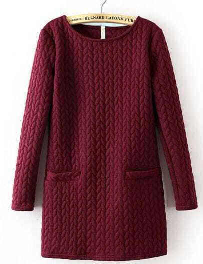 Wine Red Long Sleeve Cable Pattern Pockets Sweatshirt