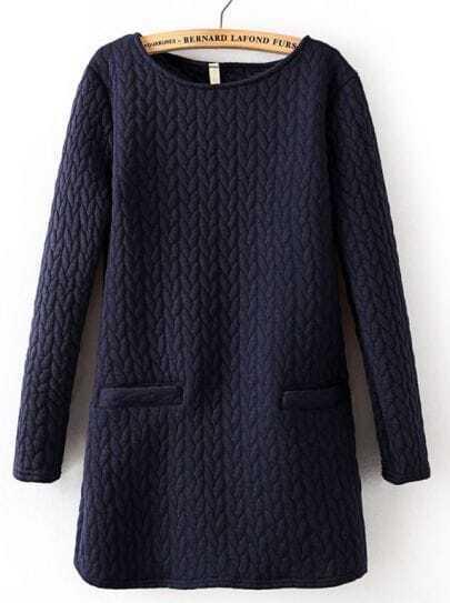 Navy Long Sleeve Cable Pattern Pockets Sweatshirt
