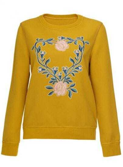 Yellow Round Neck Long Sleeve Embroidered Sweater