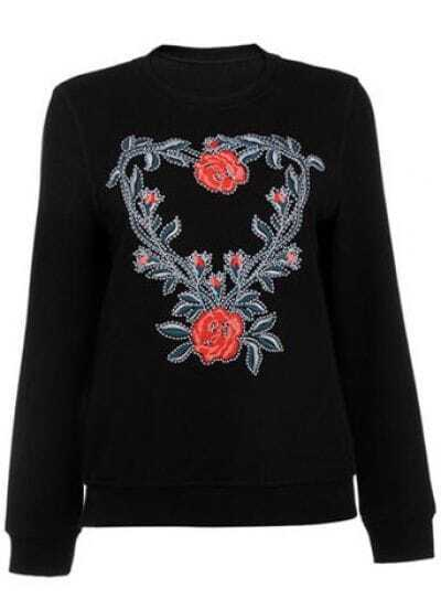 Black Round Neck Long Sleeve Embroidered Sweater