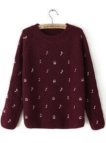 Red Long Sleeve Note Embroidered Sweater