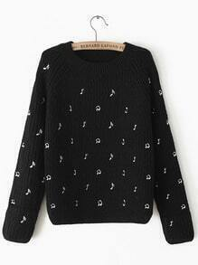 Black Long Sleeve Note Embroidered Sweater