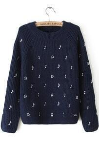Navy Long Sleeve Note Embroidered Sweater