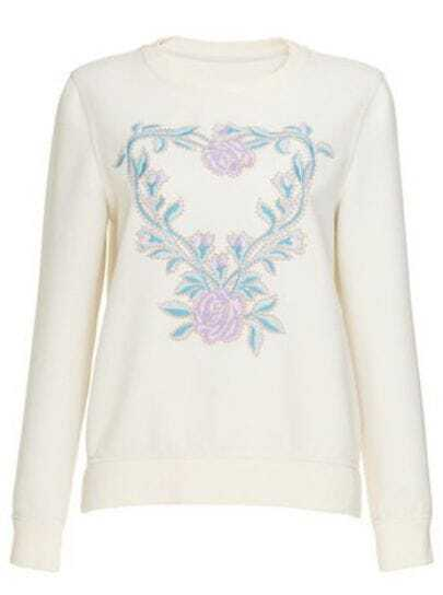 Beige Round Neck Long Sleeve Embroidered Sweater