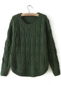 Army Green Round Neck Long Sleeve Cable Knit Sweater