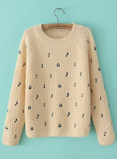 Apricot Long Sleeve Note Embroidered Sweater